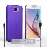 Samsung Galaxy S6 Case Purple Hard Hybrid Cover And Micro USB Cable.